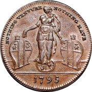 UK 1/2 Penny (Middlesex - Richardson's Fortune) NOTHING VENTURE NOTHING HAVE 1795 coin obverse