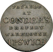 UK 1/2 Penny (Suffolk - Ipswich J. Conder) PAYABLE AT CONDER'S DRAPERY WAREHOUSE IPSWICH coin reverse