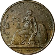 UK 1/2 Penny (Warwickshire - Birmingham Lutwyche's) MEDALS & PROVINCIAL COINS ENGRAVING & DIE SINKING DEA PECUNIA coin obverse