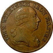 UK 1/2 Penny Warwickshire - Wilkinson Forge 1788  IOHN WILKINSON IRON MASTER coin obverse