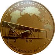 Australia 1 Dollar 100th Anniversary of the First Flight England to Australia 2019 P UNC PNC CENTENARY OF THE FIRST FLIGHT P ENGLAND TO AUSTRALIA coin reverse