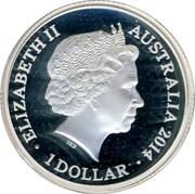 Australia 1 Dollar 4th Portrait - Triple Effigies 2014 Unc ELIZABETH II AUSTRALIA 2014 1 DOLLAR IRB coin obverse