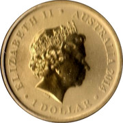 Australia 1 Dollar 4th Portrait - Year of the Horse 2014 P UNC ELIZABETH II AUSTRALIA 2014 1 DOLLAR IRB coin obverse