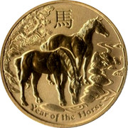 Australia 1 Dollar 4th Portrait - Year of the Horse 2014 P UNC 馬 P YEAR OF THE HORSE coin reverse