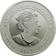 Australia 1 Dollar 50th Anniversary of the Moon Landing (coloured) 2019 ELIZABETH II AUSTRALIA 1OZ 9999 AG 2019 1 DOLLAR J.C coin obverse