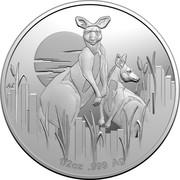 Australia 1 Dollar 6th portrait - Kangaroos at Dawn 2020 Proof AS 1/2OZ 999 AG coin reverse