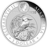 Australia 1 Dollar 6th Portrait - Kookaburra - 30th Anniversary (Coloured) 2020 P ELIZABETH II AUSTRALIA JC 1990 2020 ∙ 1 DOLLAR ∙ coin obverse