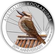 Australia 1 Dollar 6th Portrait - Kookaburra - 30th Anniversary (Coloured) 2020 P AUSTRALIAN KOOKABURRA P JM 30TH ANNIVERSARY 1OZ 9999 SILVER coin reverse
