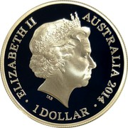 Australia 1 Dollar AIF Sail from Albany 2014 Proof ELIZABETH II AUSTRALIA 2014 1 DOLLAR coin obverse