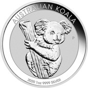 Australia 1 Dollar Australian Koala 2020 AUSTRALIAN KOALA 2020 1 OZ 9999 SILVER P coin reverse