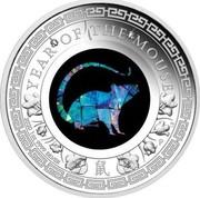 Australia 1 Dollar Australian Opal Lunar Mouse 2020 P YEAR OF THE MOUSE LB P 2020 1OZ 9999 SILVER 鼠 coin reverse