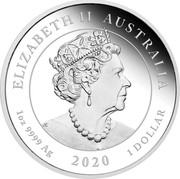 Australia 1 Dollar Australian Voyage Endeavour 2020 Proof ELIZABETH II AUSTRALIA 1 OZ 9999 AG 2020 1 DOLLAR coin obverse
