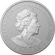 Australia 1 Dollar Australian Zoo Sumatran Tiger 2020 QUEEN ELIZABETH II AUSTRALIA 2020 1 DOLLAR coin obverse