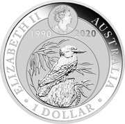Australia 1 Dollar Kookaburra - 30th Anniversary 2020 ELIZABETH II AUSTRALIA 1 DOLLAR 1990 2020 coin obverse