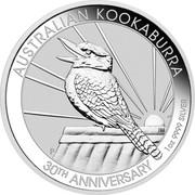 Australia 1 Dollar Kookaburra - 30th Anniversary 2020 AUSTRALIAN KOOKABURRA 30TH ANNIVERSARY 1OZ 9999 SILVER coin reverse