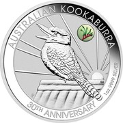 Australia 1 Dollar Kookaburra. ANDA Perth Kangaroo Paw Privy mark 2020 AUSTRALIAN KOOKABURRA P JM 30TH ANNIVERSARY 1OZ 9999 SILVER coin reverse