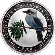 Australia 1 Dollar Kookaburra (Colored) 2000 Proof THE AUSTRALIAN KOOKABURRA 1 OZ. 999 SILVER 2000 coin reverse
