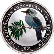 Australia 1 Dollar (Kookaburra (Colored)) THE AUSTRALIAN KOOKABURRA 1 OZ. 999 SILVER 2000 coin reverse