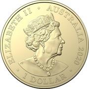 Australia 1 Dollar QANTAS 02 - Sir Hudson Fysh and Paul McGinness 2020 ELIZABETH II • AUSTRALIA 2020 • 1 DOLLAR • coin obverse