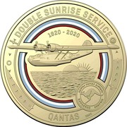 Australia 1 Dollar QANTAS 05 - Double Sunrise Service 2020 DOUBLE SUNRISE SERVICE QANTAS 1920-2020 SMS coin reverse