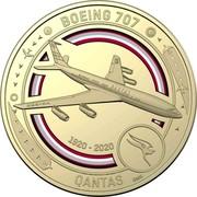 Australia 1 Dollar QANTAS 07 - Boeing 707 2020 BOEING 707 QANTAS 1920-2020 SMS coin reverse