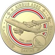 Australia 1 Dollar QANTAS 10 - Airbus A380 2020 Coincard AIRBUS A380 QANTAS 1920-2020 SMS coin reverse