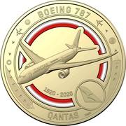 Australia 1 Dollar QANTAS 11 - Boeing 787 2020 BOEING 787 QANTAS 1920-2020 SMS coin reverse