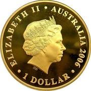 Australia 1 Dollar Queen Elizabeth II 2006 Proof KM# 844a ELIZABETH II AUSTRALIA 2006 1 DOLLAR coin obverse