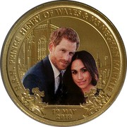 Australia 1 Dollar The Royal Wedding 2018 P UNC PNC H.R.H. PRINCE HENRY OF WALES & MS. MEGHAN MARKLE 19 MAY 2018 coin reverse