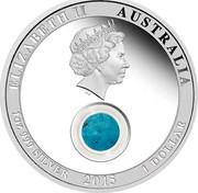 Australia 1 Dollar Turquoise 2015 P Proof ELIZABETH II AUSTRALIA 1 OZ 999 SILVER 2015 1 DOLLAR coin obverse