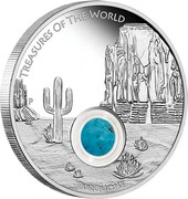Australia 1 Dollar Turquoise 2015 P Proof TREASURES OF THE WORLD TURQUOISE coin reverse