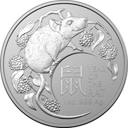 Australia 1 Dollar Year of the Mouse 2020 YEAR OF THE RAT 1OZ .999 AG coin reverse