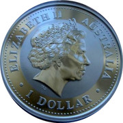 Australia 1 Dollar Year of the Tiger (Gilted) 2010 Proof 1 DOLLAR AUSTRALIA ELIZABETH II coin obverse