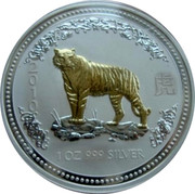 Australia 1 Dollar Year of the Tiger (Gilted) 2010 Proof 1 OZ 999 SILVER 2010 coin reverse