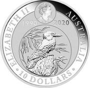 Australia 10 Dollars 30th Anniversary of the Kookaburra Bullion Coin 2020 P Perth Mint ELIZABETH II AUSTRALIA JC 10 DOLLARS 1990 2020 coin obverse