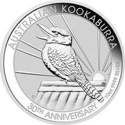 Australia 10 Dollars 30th Anniversary of the Kookaburra Bullion Coin 2020 P Perth Mint AUSTRALIAN KOOKABURRA P JM 30TH ANNIVERSARY 10OZ 9999 SILVER coin reverse