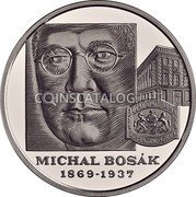 Slovakia 10 Euro (150th anniversary of the birth of Michal Bosák) 1869 - 1937 MICHAL BOSАK coin reverse