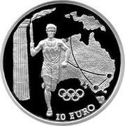 Greece 10 Euro Olympic flame - Australia 2004 Proof KM# 230 10 EURO coin reverse