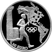 Greece 10 Euro Olympic flame - North and south America 2004 Proof KM# 233 10 EURO coin reverse