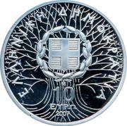Greece 10 Euro Pindos National Park 2007 Proof KM# 222 ΕΛΛΗΝΙΚΗ ΔΗΜΟΚΡΑΤΙΑ 10 ΕΥΡΩ 2007 coin obverse