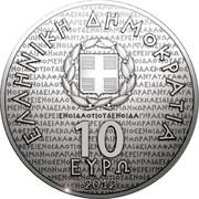 Greece 10 Euro Socrates 2012 Proof KM# 248 ΕΛΛΗΝΙΚΗ ΔΗΜΟΚΡΑΤΙΑ 10 ΕΥΡΩ 2012 coin obverse