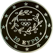 Greece 10 Euro Summer Olympics 2004 in Athens - Discus throwing 2004 Proof KM# 191 ΑΘΗΝΑ 2004 10 ΕΥΡΩ coin obverse