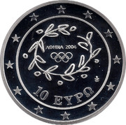 Greece 10 Euro Summer Olympics 2004 in Athens - Football (2004) Proof KM# 206 ΑΘΗΝΑ 2004 10 ΕΥΡΩ coin obverse