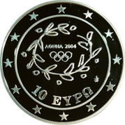 Greece 10 Euro Summer Olympics 2004 in Athens - Handball (2004) Proof KM# 205 ΑΘΗΝΑ 2004 10 ΕΥΡΩ coin obverse
