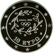 Greece 10 Euro Summer Olympics 2004 in Athens - Javelin 2004 Proof KM# 193 ΑΘΗΝΑ 2004 10 ΕΥΡΩ coin obverse
