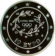 Greece 10 Euro Summer Olympics 2004 in Athens - Weightlifting (2004) Proof KM# 202 ΑΘΗΝΑ 2004 10 ΕΥΡΩ coin obverse