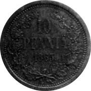 Finland 10 Penny Aleksandr II 1863 Stockholm mint KM# Pn3 10 PENNIÄ 1863 coin reverse