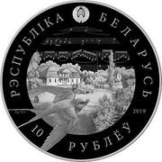 Belarus 10 Roubles 200 years of Stanislav Monyushko 2019 Proof РЭСПУБЛIКА БЕЛАРУСЬ AG 925 2019 10 РУБЛЁЎ coin obverse