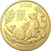 Australia 100 Dollars 4th Portrait - Year of the Rat 2020 BU 2020 鼠 AWB 1OZ .9999 AU coin reverse