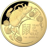 Australia 100 Dollars 6th Portrait - Lunar Year of the Rat 2020 Proof 鼠 YEAR OF THE RAT 1OZ .9999 AU coin reverse